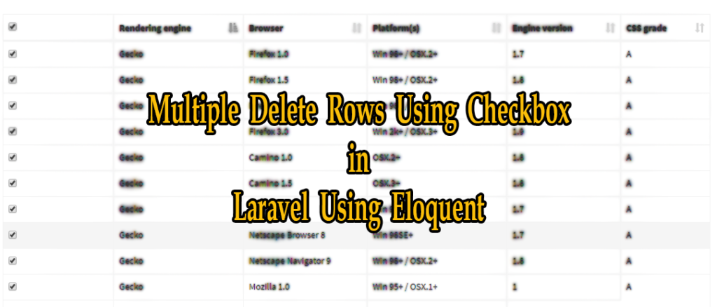 Delete Multiple Rows Using Checkbox in PHP & Laravel Using Eloquent